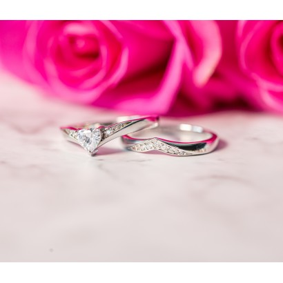 SILVER CUBIC ZIRCONIA HEART RING SET