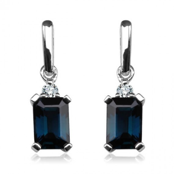 14CT WHITE GOLD SAPPHIRE EARRINGS