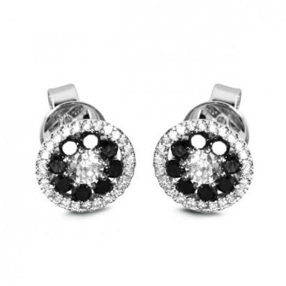 18CT WHITE GOLD BLACK DIAMOND EARRINGS