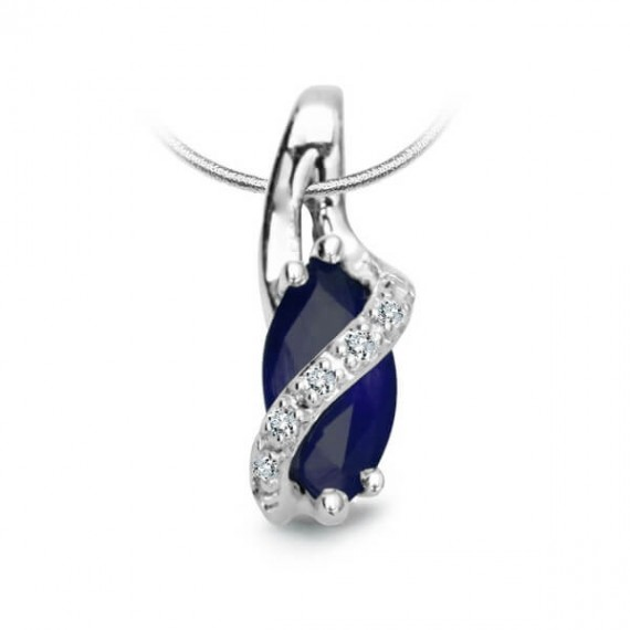 14CT WHITE GOLD SAPPHIRE NECKLACE