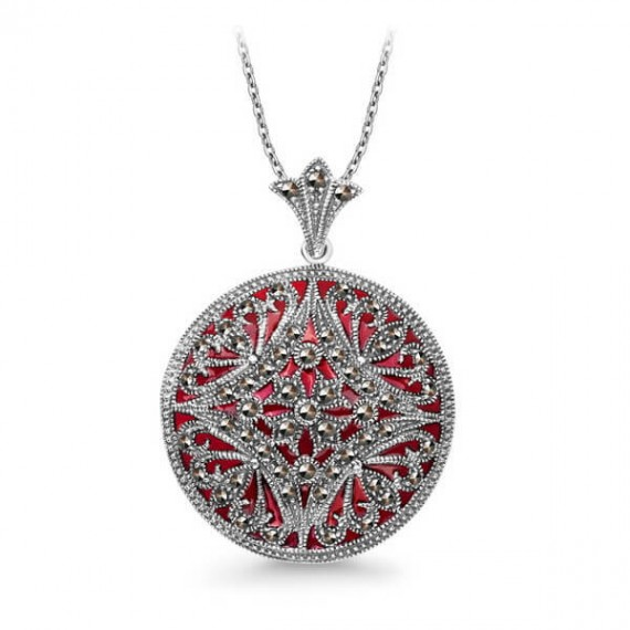 SILVER MARCASITE NECKLACE