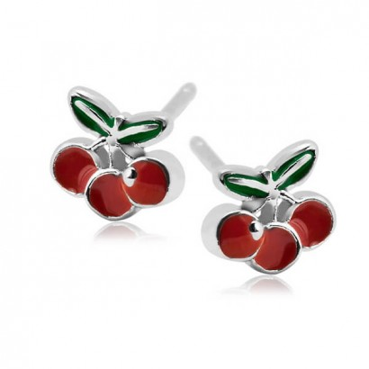 SILVER CHERRY EARRINGS