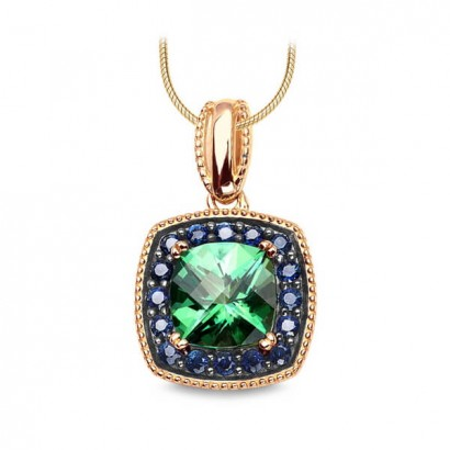 14CT GOLD NECKLACE WITH GREEN TOPAZ