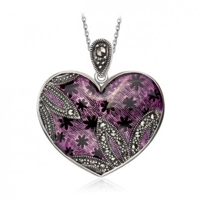 SILVER MARCASITE HEART NECKLACE