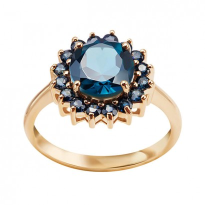 14CT GOLD  TOPAZ AND SAPPHIRE RING