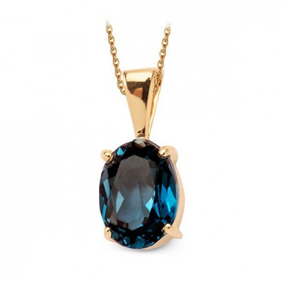 14CT GOLD BLUE TOPAZ NECKLACE