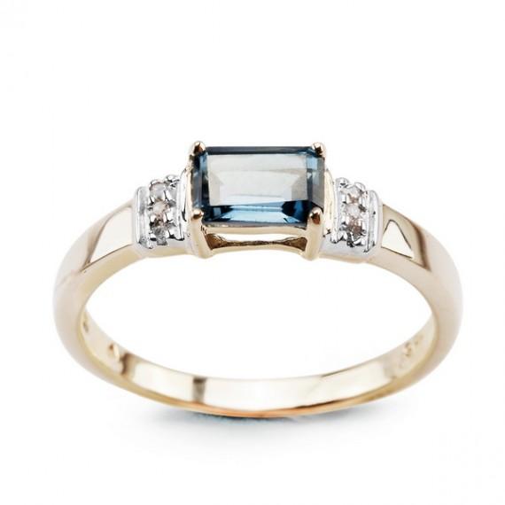 14CT GOLD  BLUE TOPAZ RING