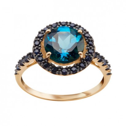 14CT GOLD BLUE TOPAZ RING