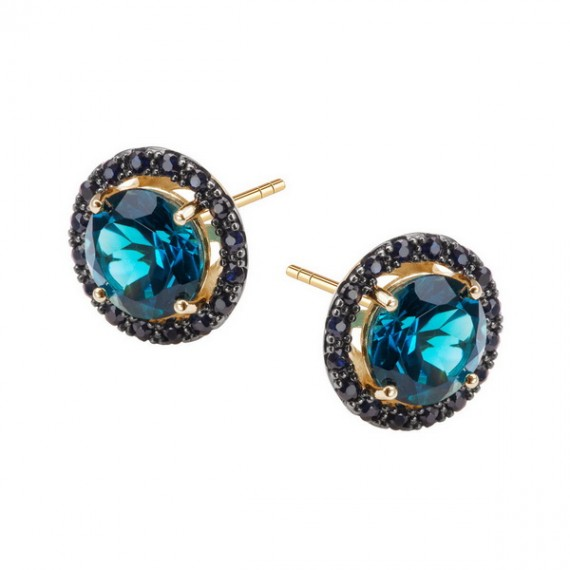 14CT GOLD BLUE TOPAZ EARRINGS