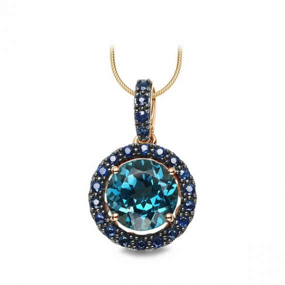 14CT GOLD NECKLACE WITH BLUE TOPAZ