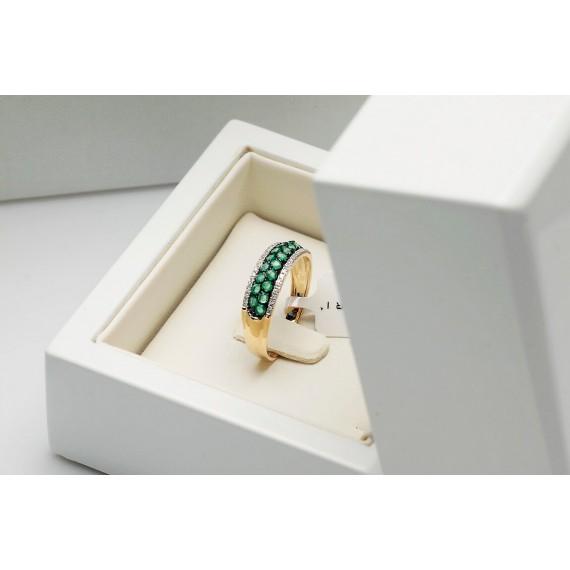 14CT GOLD DIAMOND & EMERALD RING