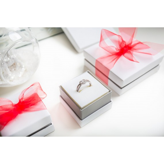 SILVER CUBIC ZIRCONIA HEART RING