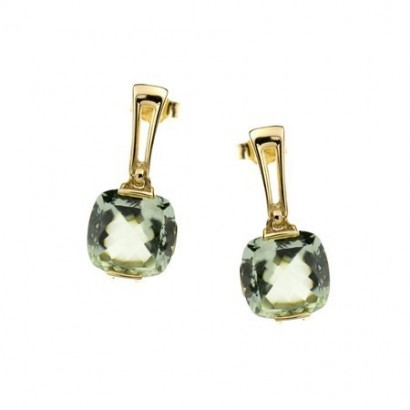 14CT GOLD GREEN AMETHYST EARRINGS