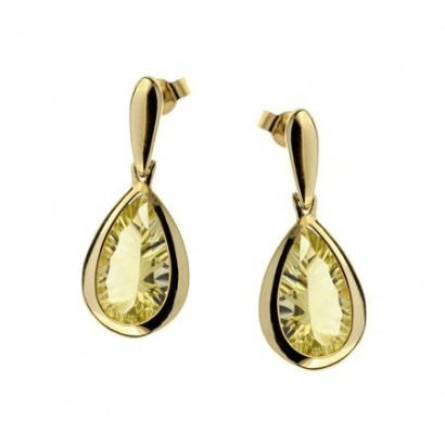 14CT GOLD LEMON QUARTZ EARRINGS