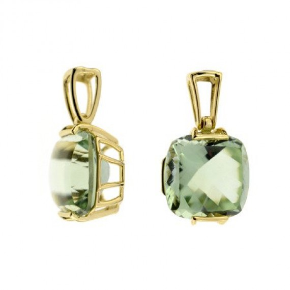 14CT GOLD GREEN AMETHYST NECKLACE