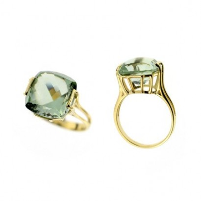 14CT GOLD GREEN AMETHYST RING