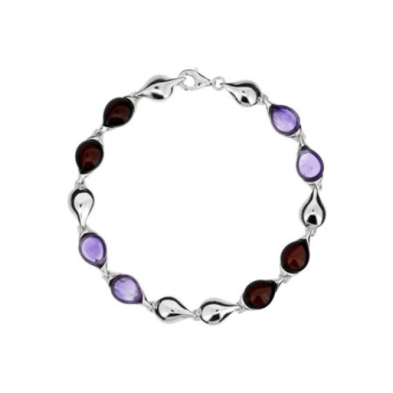 SILVER BRACELET WITH AMBER & AMETHYST