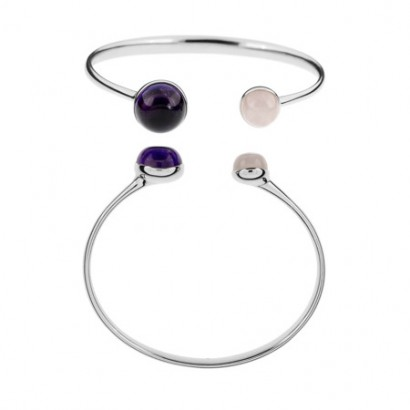 SILVER AMETHYST & QUARTZ  BANGLE