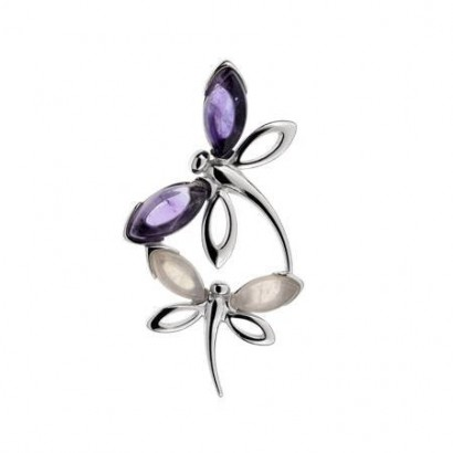 SILVER AMETHYST DRAGONFLY NECKLACE