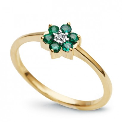 14CT GOLD EMERALD FLOWER RING