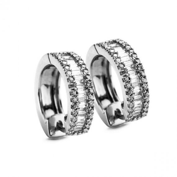 14CT WHITE GOLD DIAMOND HOOP EARRINGS