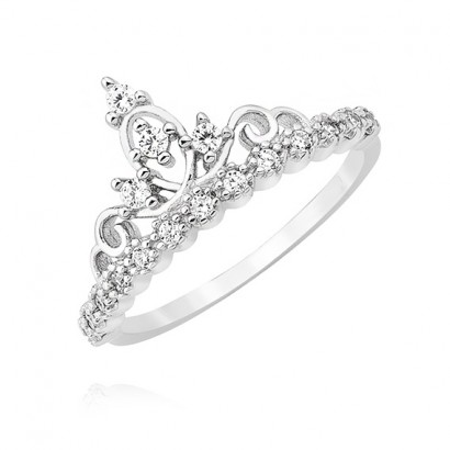 SILVER CUBIC ZIRCONIA CROWN RING