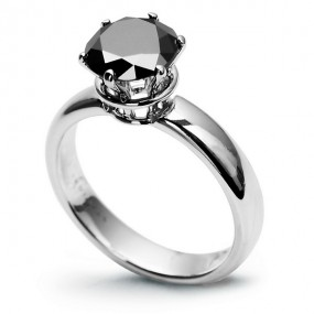 18CT WHITE GOLD BLACK DIAMOND RING