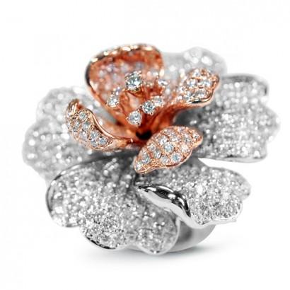 18CT GOLD DIAMOND FLOWER RING