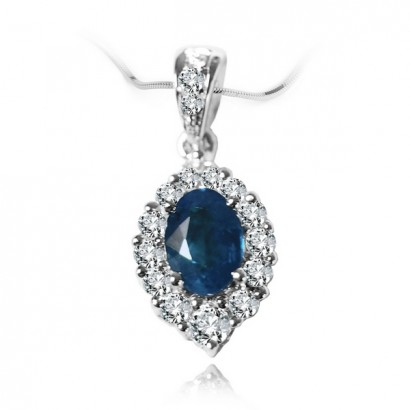 18CT WHITE GOLD SAPPHIRE NECKLACE