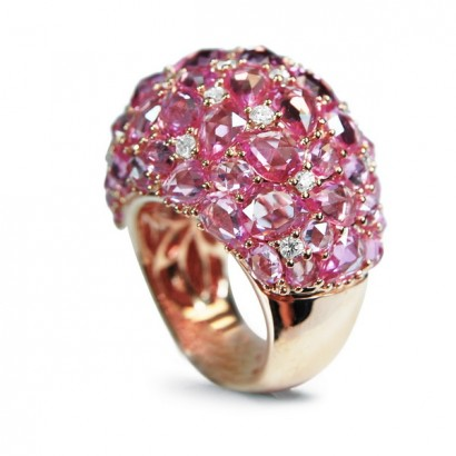18CT GOLD PINK SAPPHIRE RING