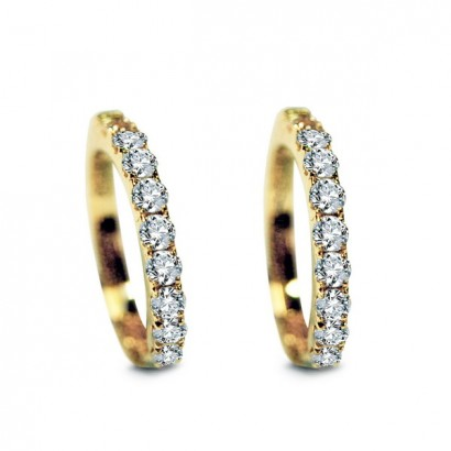 14CT GOLD DIAMOND HOOP EARRINGS