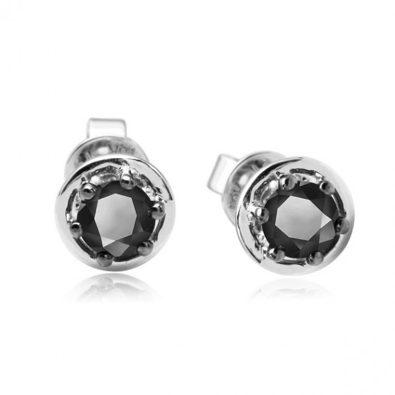 18CT WHITE GOLD BLACK DIAMOND EARRINGS
