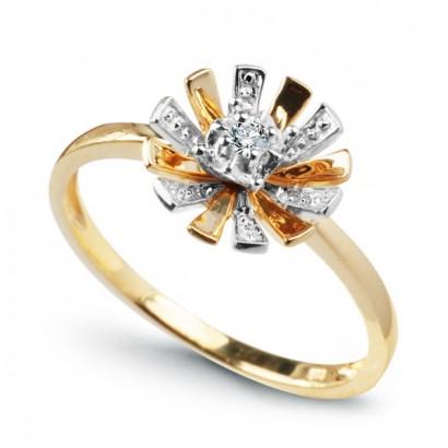 14CT GOLD DIAMOND FLOWER RING