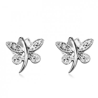 14CT WHITE GOLD DIAMOND BUTTERFLY EARRINGS