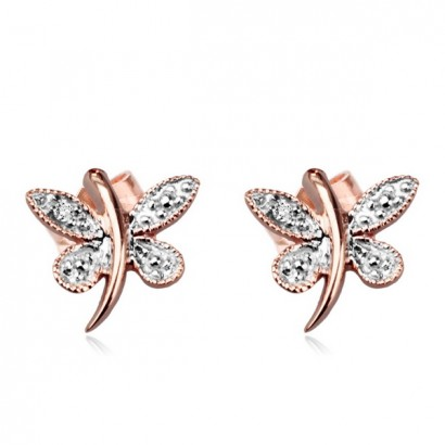 14CT ROSE GOLD DIAMOND BUTTERFLY EARRINGS