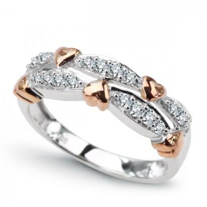 14CT WHITE GOLD DIAMOND HEART RING