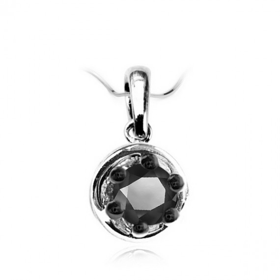 18CT WHITE GOLD BLACK DIAMOND NECKLACE