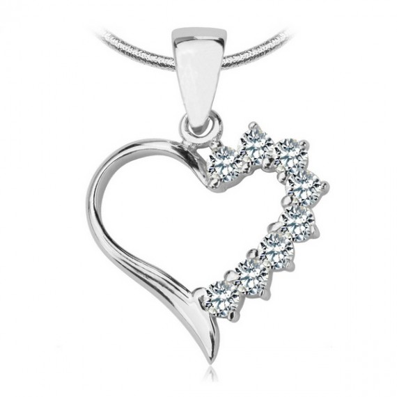 SILVER CUBIC ZIRCONIA HEART NECKLACE