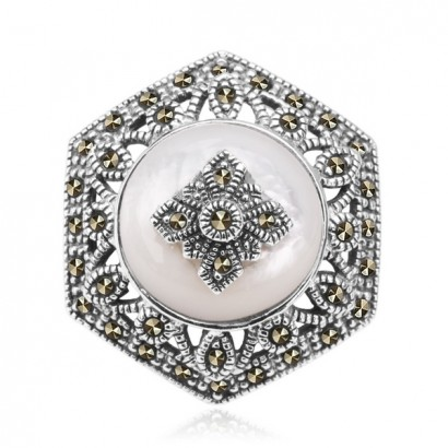 SILVER MOTHER OF PEARL & MARCASITE BROOCH