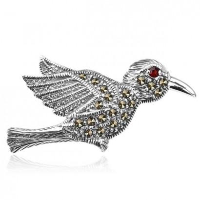 SILVER MARCASITE BIRD BROOCH