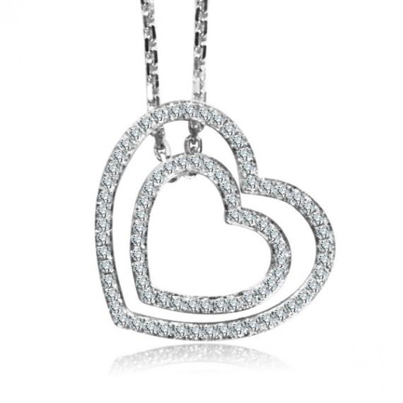 18CT WHITE GOLD DIAMOND HEART NECKLACE