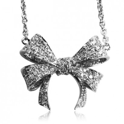 18CT WHITE GOLD DIAMOND BOW NECKLACE