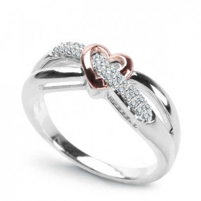 14CT WHITE GOLD DIAMOND HEART DRESS RING