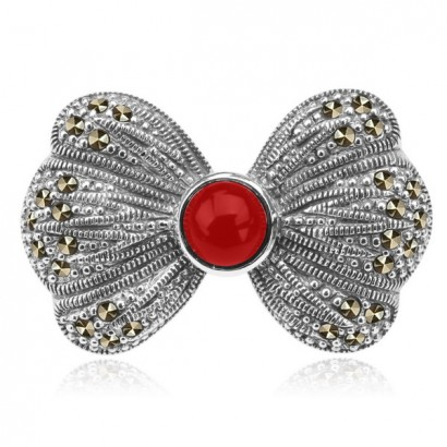 SILVER CORAL BOW BROOCH