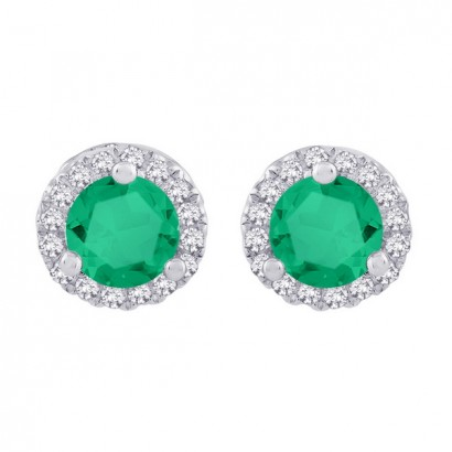 14CT WHITE GOLD DIAMOND AND EMERALD EARRINGS