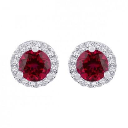 14CT WHITE GOLD DIAMOND & RUBY EARRINGS