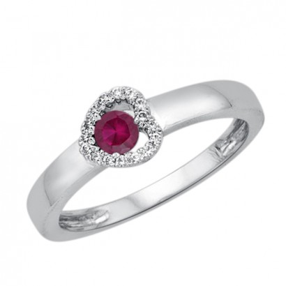 14CT GOLD RUBY HEART RING