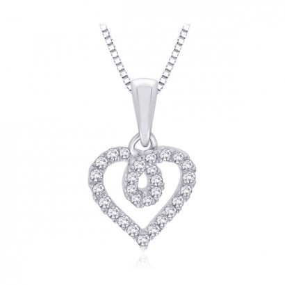 14CT WHITE GOLD DIAMOND HEART NECKLACE