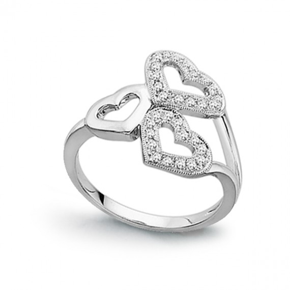 14CT WHITE GOLD DIAMOND HEART RING