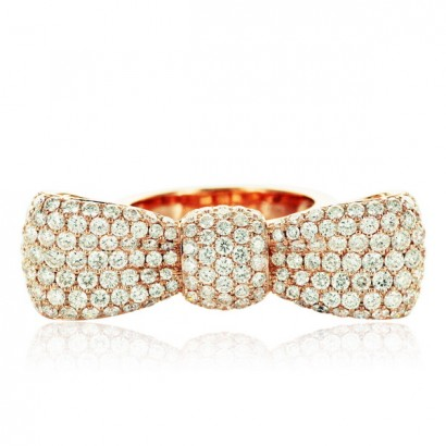 18CT ROSE GOLD DIAMOND BOW RING
